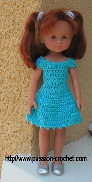 Robe au crochet pour poupée Chérie de Corolle - http://www.passion-crochet.com/poupee41.html