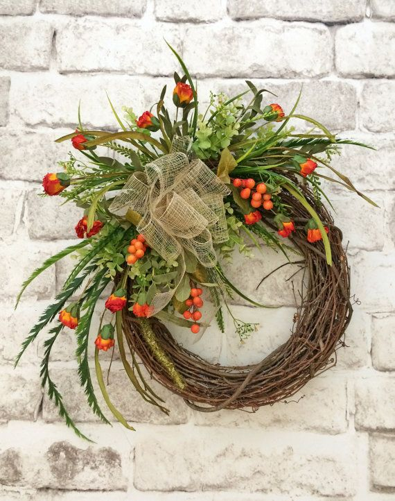 Berry Fall Wreath Front Door Wreath Grapevine by AdorabellaWreaths