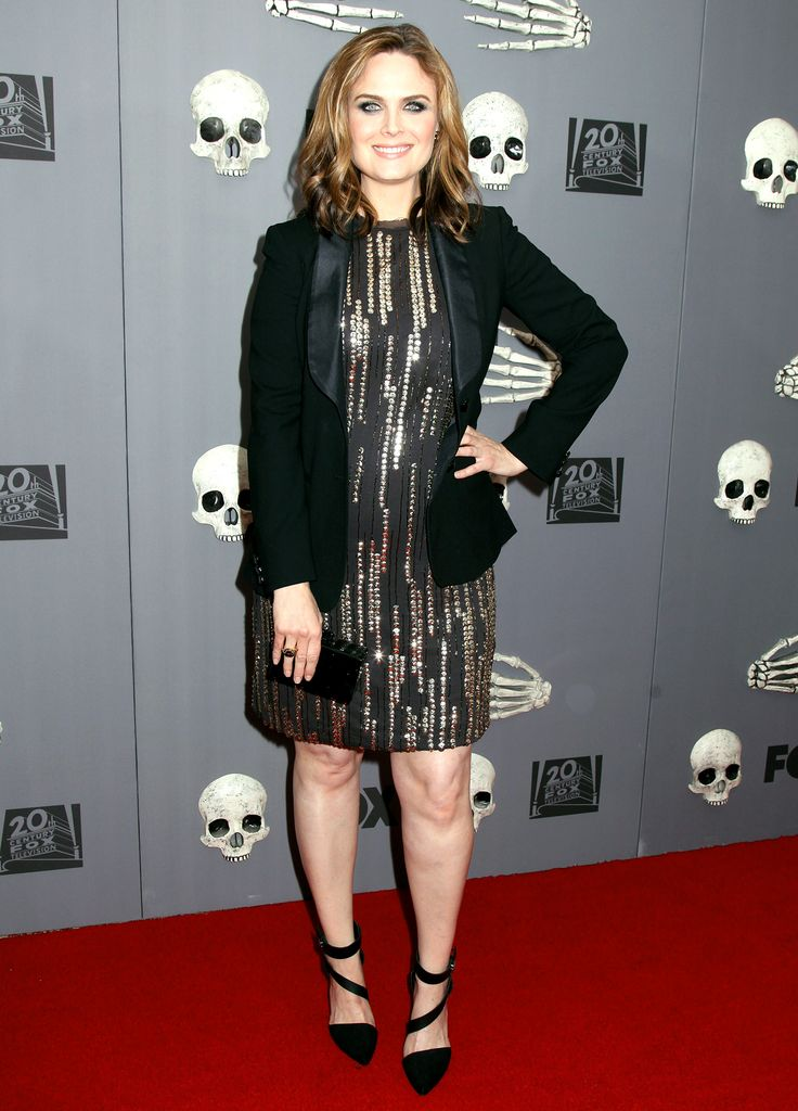 Emily Deschanel Sparkles on the Red Carpet, Dresses Her Baby Bump in Sequins: See Her Red Carpet Look