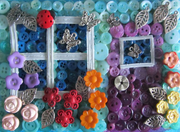 Butterfly Cottage - Made with buttons, charms and garbage ties.