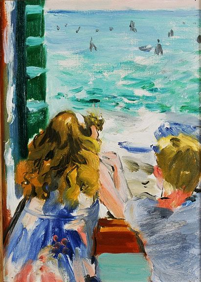 Sandra Fisher Max and Amelia in Venice 1992  oil on canvas, 13-3/4 x 9-7/8 inches Collection of Max Kitaj (c) Estate of Sandra Fisher