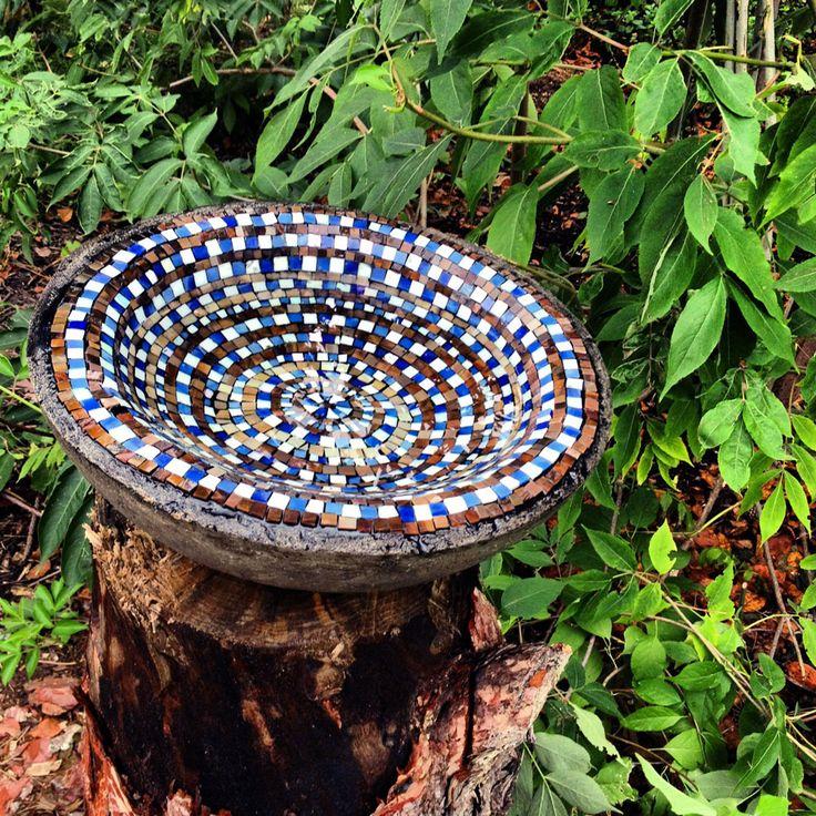 Mosaic Birdbath using No Days Groutless Mosaic Adhesive to waterproof ...