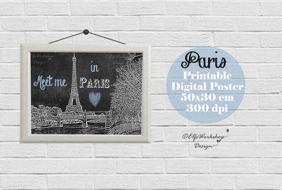 Paris poster, Blackboard poster Paris, Paris printable poster, Vintage Paris printable poster, Home Decor, Quote print, Paris Decoration