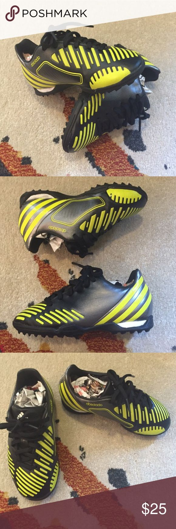 Kids Adidas Soccer Predators Tennis Shoes Brand new w/out tags Adidas Indoor Soccer Shoes w/ black and neon design. (11K) Adidas Shoes Sneakers