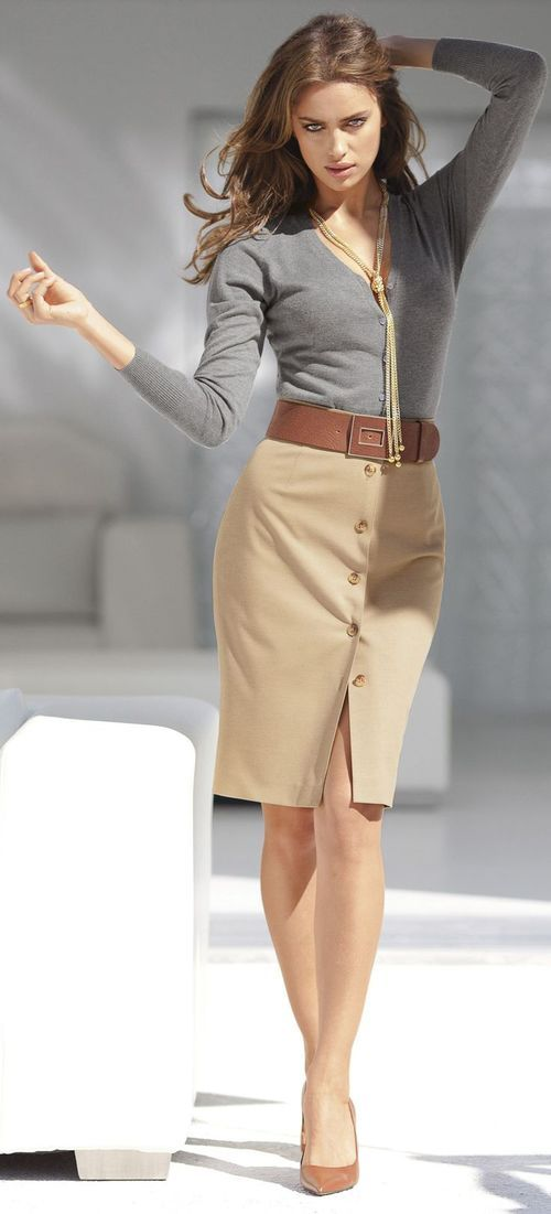Tan Skirt Button Detail Grey Sweater Business Casual