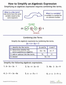 How to Simplify Algebraic Expressions Worksheet - whole site of worksheets