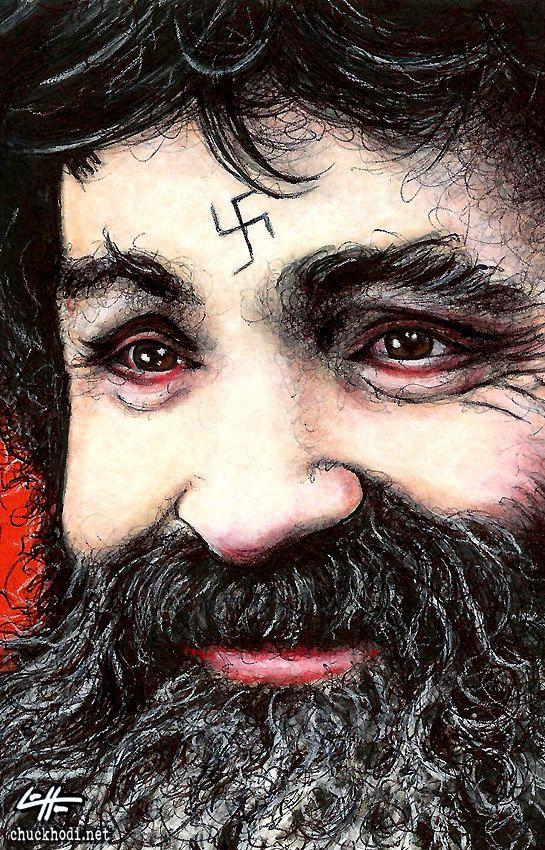 Print 11x17 Charles Manson Dark Art True Crime by chuckhodi