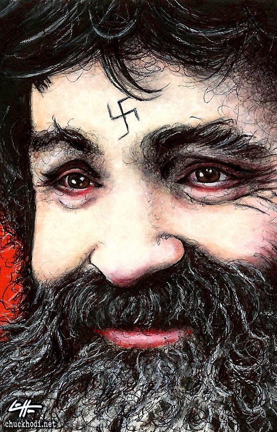 Print 11x17 Charles Manson Dark Art True Crime by chuckhodi