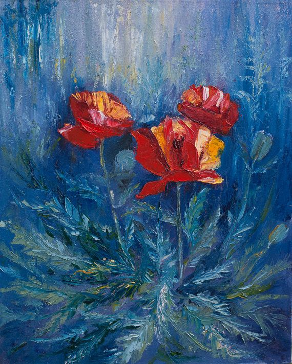 Oil Painting Poppies Original Artwork Home Decor by myhArt4you