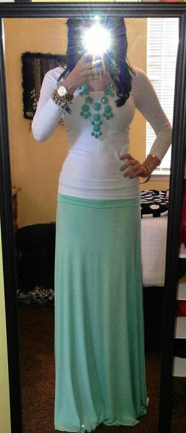White shirt and mint maxi skirt outfit.