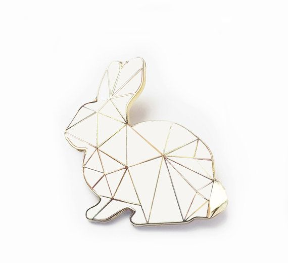 White Rabbit Brooch Pin Harlequin Bunny Enamel by SketchInc