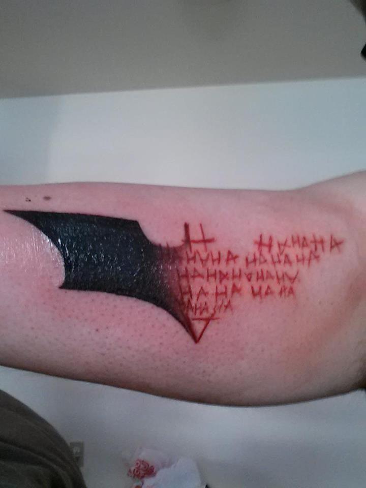 Batman/Joker duality tattoo. Awesome