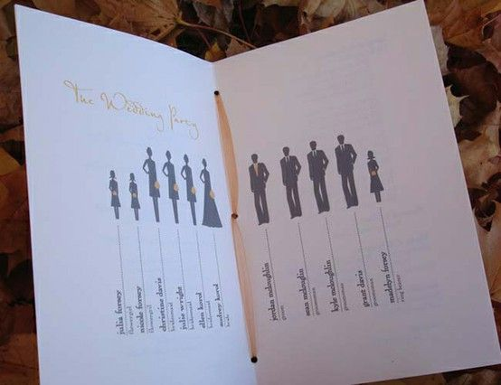 Cute wedding program. I like this because I'm always trying to figure out who is who. @ Wedding Day Pins : You're #1 Source for Wedding Pins!Wedding Day Pins : You're #1 Source for Wedding Pins!