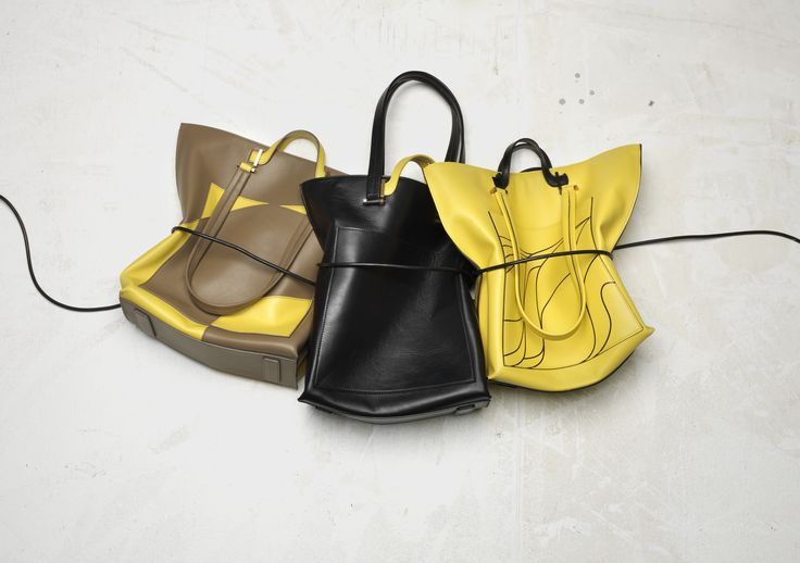 LURA Eva Totes collage, solid and printed leather versions
