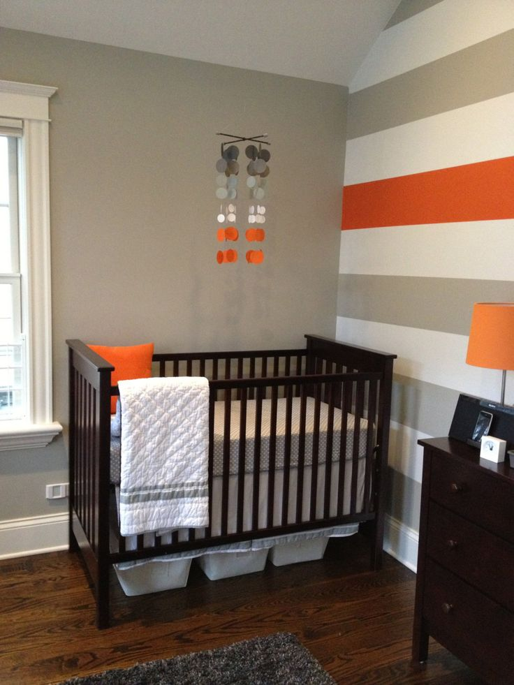 Baby nursery mobile grey and orange nursery mobile grey for Boys room accent wall
