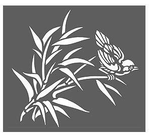 Bamboo Stencils Bamboo and Bird Stencil