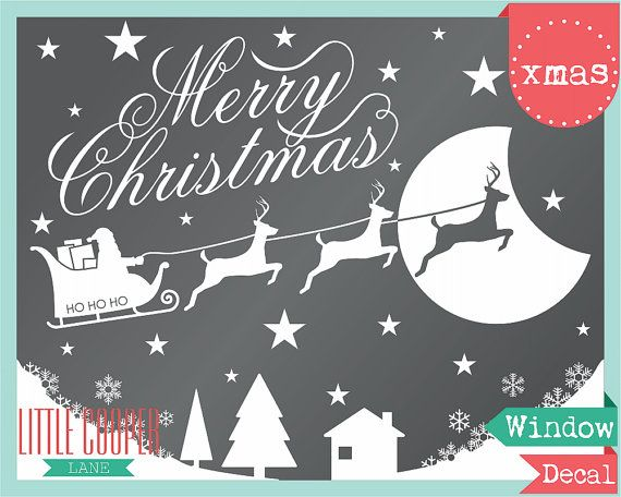 Merry Christmas Santa Stars and Moon Window Decal. Removable Vinyl Decal.