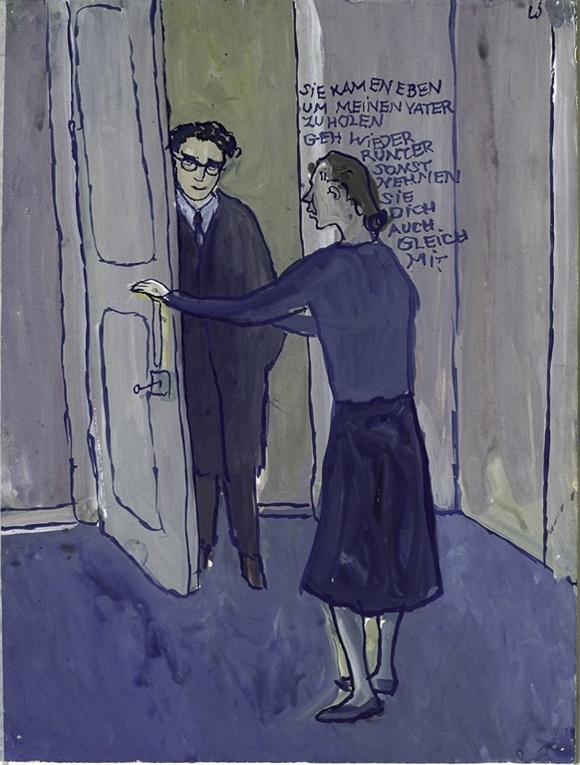 "Charlotte Salomon, Szene aus ""Leben? oder Theater? Ein Singespiel"" (1940-42) ""They came to take my father with them. You back down, otherwise they take you too the same time."""
