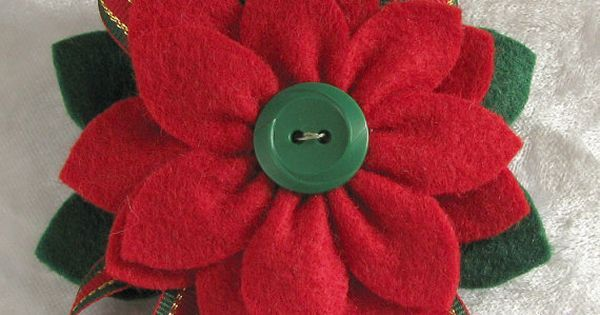 Christmas Felt Poinsettia Pin Red and Green Felt with Vintage Green Button and Striped Ribbon Accents | Poinsettia, Felt and Christmas