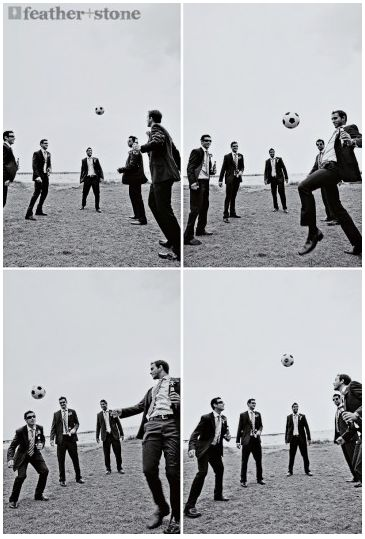 fun wedding photos....  rugby ball instead