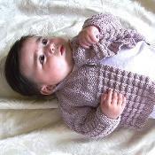Textured round yoke baby sweater & hat - via @Craftsy