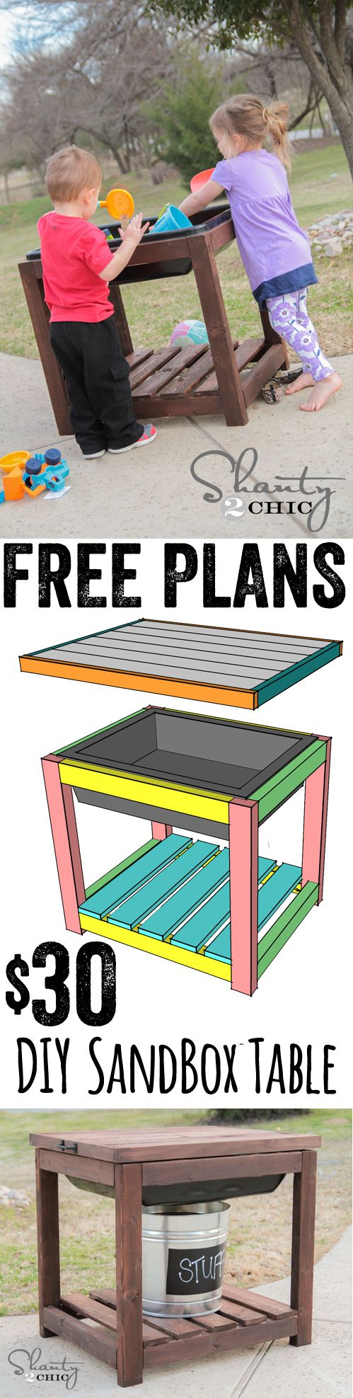 Free Plans DIY Sandbox Table www.shanty-2-chic.com