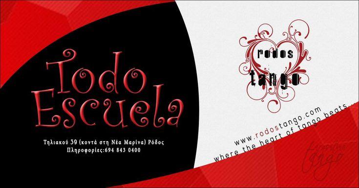 Μαθήματα αργεντίνικου τάνγκο στη Ρόδο 2017-2018 Το RodosTango & η Todo Escuelaσυνεργάζονται για 1ηφορά για μια δυνατή τανγκοχρονιά. Τα μαθήματα θα γίνονται από τον Ηλία Μουζουράκη ...