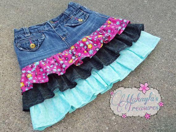 Girls Denim Skirt Ruffle Skirt Customize Your by MakaylasTreasures