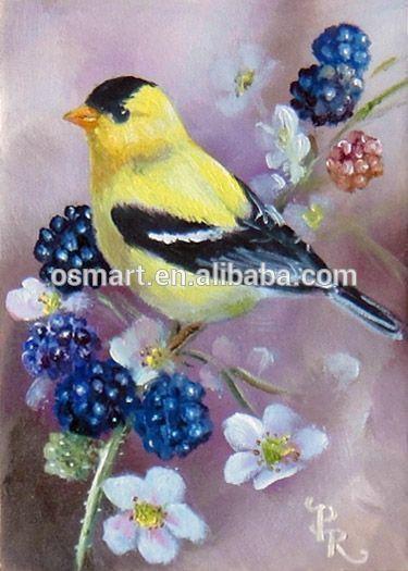 Ciruela primavera flores ramas pájaro amarillo y te negro y blanco Rodeado de un montón de hermosa mariposa pintura al óleo en Canvas-imagen-Pintura y Caligrafía-Identificación del producto:60377717370-spanish.alibaba.com