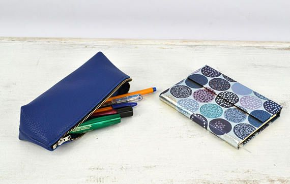 LEATHER PENCIL CASE Cobalt blue Leather Brush Bag Artist