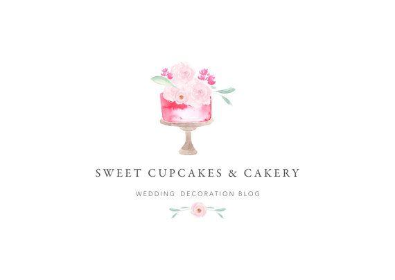 Watercolor Bakery logo design//Cupcake logo design// Cake logo//Dessert logo//