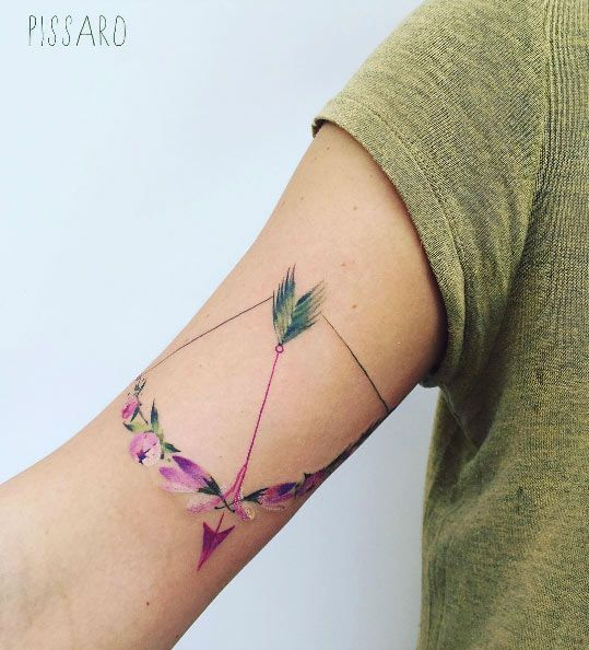 awesome Body - Tattoo's - Floral bow and arrow tattoo by Pis Saro...