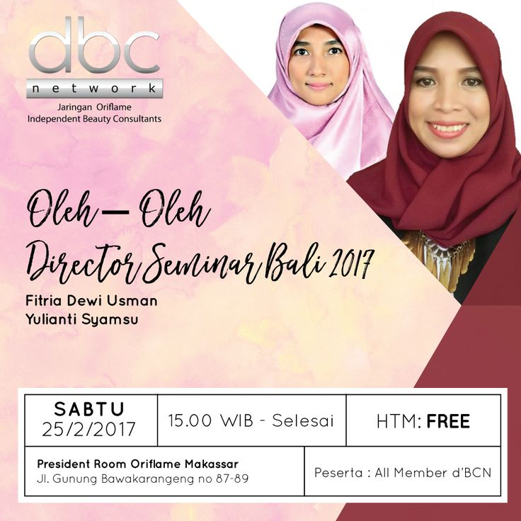 """Semangat pagi d'BCNers Makassar!  Hai, ketemu lagi kita di acara offline rutin setiap bulannya. Ada yang mau mendapatkan oleh-oleh dari Seminar Director dari Bali?  Atau mau tau cara dapatin tiket gratisnya?   Yuk jangan sampai kelewatan sharing kali ini ya! Acara akan dijamin seru dan full ilmu. Kosongkan jadwal mu tanggal 25 Februari 2017.  *khusus member d'BCN!""""  See you there!  #oriflame #dBCNetwork #dBCNEvent #bisnisonline #ibubekerja #makassar"""