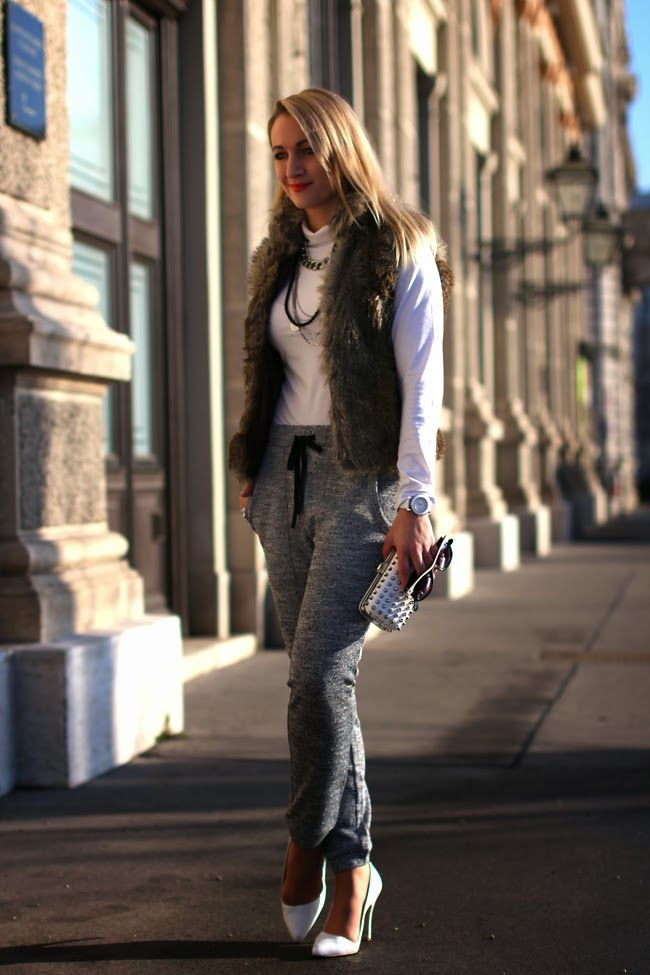 pants & clutch - Forever 21 / turtle neck pullover - Calzedonia / fake fur vest - Vero Moda / pumps - Buffalo / necklaces - H&M, Xenox / watch - Swarovski / rings - Thomas Sabo, engagement ring / earrings - vintage / sunglasses - no name