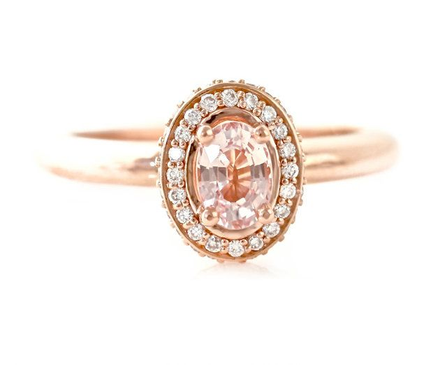 14K Peach Sapphire Engagement Ring Baby Pink Sapphire Ring Diamond Halo Champagne Custom  Bridal Jewelry. $1,421.00, via Etsy.