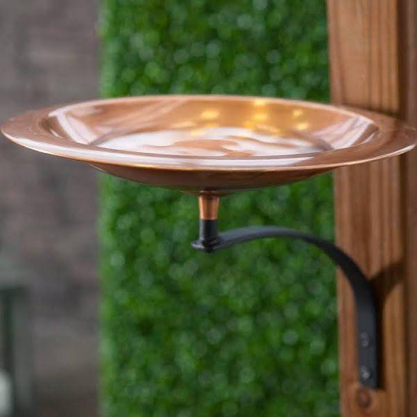 Classic Copper Bird Bath Bowl With Wall Mount Bracket Ma646 1 Google Express Copper Bird Bath Bird Bath Bowl Metal Bird Bath