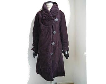 Women's Coat aubergine cotton coat retro style large buttons large collar long jacket asymmetric style eggplant padded A-line coat