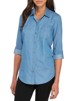 Kim Rogers Women's Chambray Roll Sleeve Shirt - Med Wash - Xl