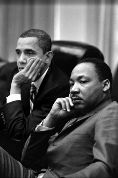 President Barack Obama & the Reverend Martin Luther King, Jr. [digitized photo via Trendy Traveler]