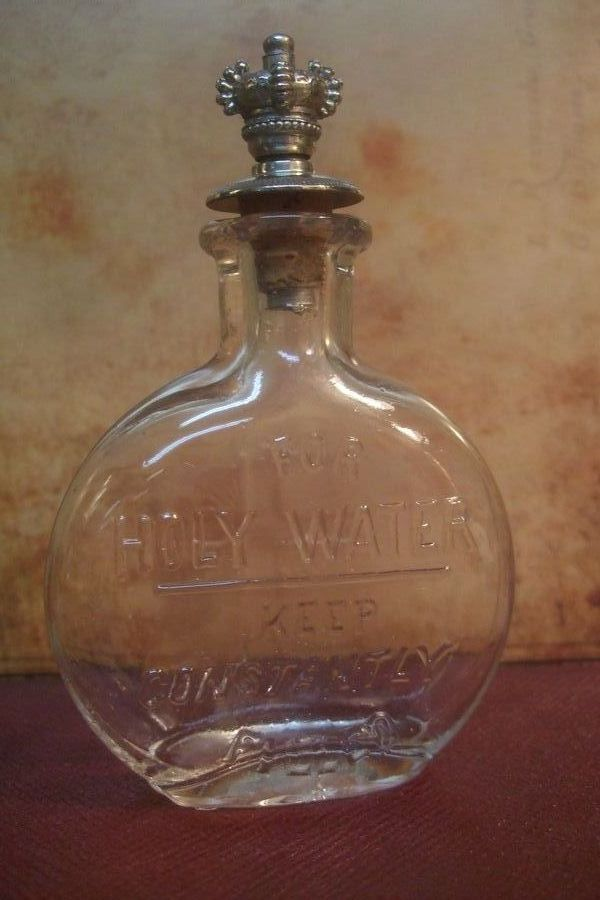 1900's Victorian Antique GLASS HOLY WATER BOTTLE w/ Pewter Sprinkler Top