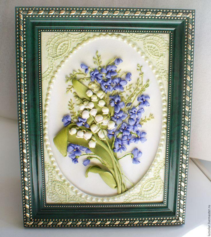 Купить Вышивка лентами ( миниатюра) Весенние цветы 24 х 19 см - ландыши