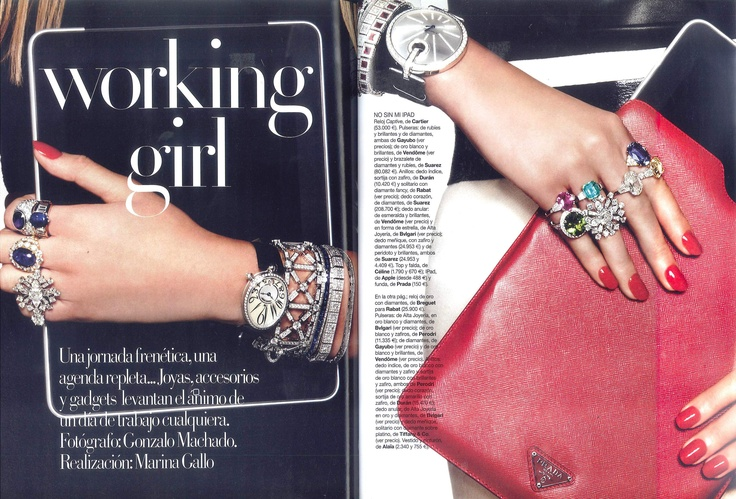 Working girl   Editorial by Vogue España   Bracelets from white gold with diamonds and rubies by Gayubo
