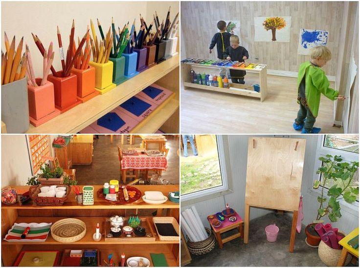 Montessori Classroom Design Ideas ~ Fantastic montessori school art shelves home play