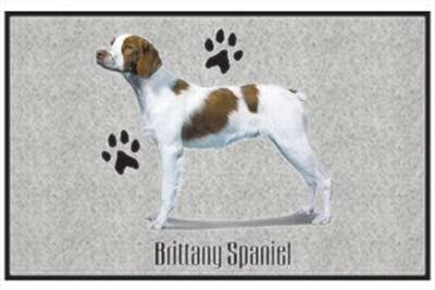 "Brittany Spaniel - Sporting Dogs - Gray - Door and Welcome Mat by Express Yourself Mats. $24.88. Door Mat Size 27""x18"". Great Gift Idea!. Personalization Available (choose above) - EMAIL TEXT TO SELLER AFTER CHECKOUT. Non-Skid Backing. Made in USA. Enjoy the Brittany Spaniel design heat pressed on this light-weight, low pile, woven polyester door mat. This decorative welcome mat measures 27 x 18 inches, is 1/8 inch thick and features a non-skid latex coating on ..."