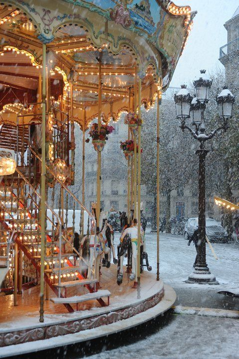 Carousel in Snowfall