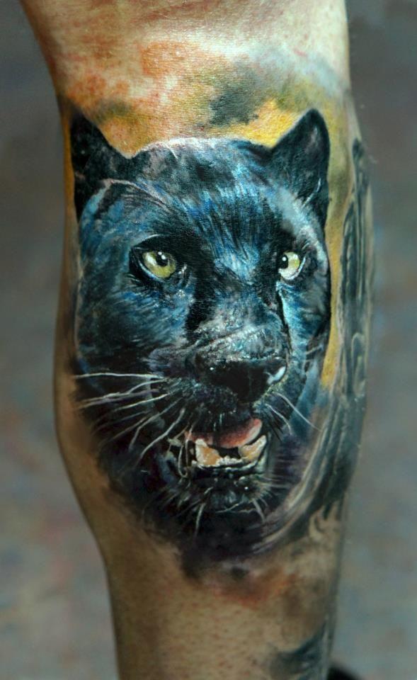 Realistic Black Panther Tattoo - Domantas Parvainis http://inkchill.com/realistic-black-panther-tattoo/ #panther #tattoos