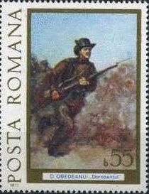 Znaczek: Attacking Infantryman, by Obedenau (Rumunia) (Paintings - Romania's Independence) Mi:RO 3425,Sn:RO 2718,Yt:RO 3027