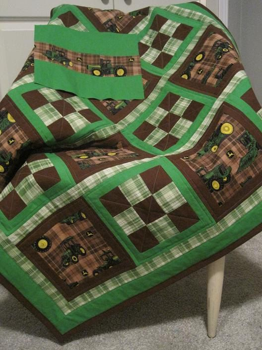 I want!!!  John Deere Baby Boy Quilt John Deere Dreams by SewnWithLoveByVicki, $140.00