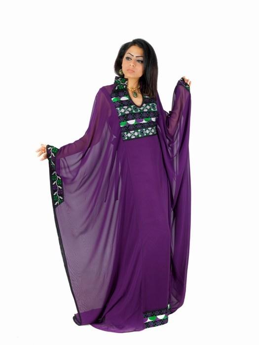 Aljalabiya.com: Butterfly chiffon Jalabiya with Jordanian embroidery on chest and cuff, $142.00