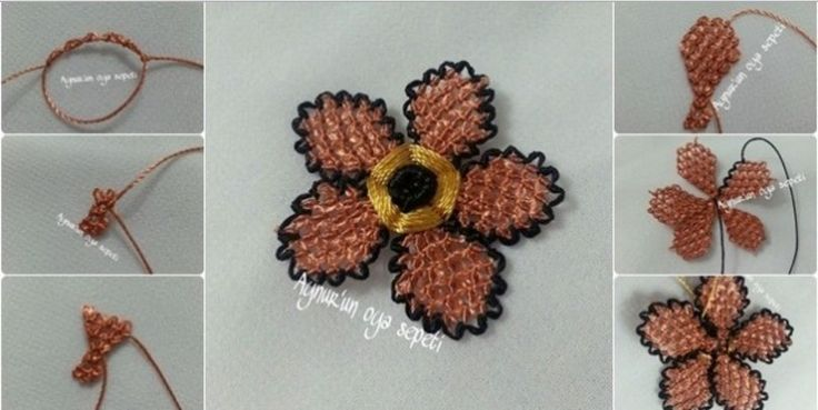 iğne oyası çiçek yapımı